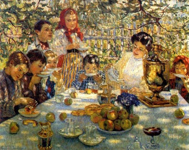 Н. Богданов-Бельский. День рождения в саду (Nikolai Bogdanov-Belski -Teacher Birthday in the garden).