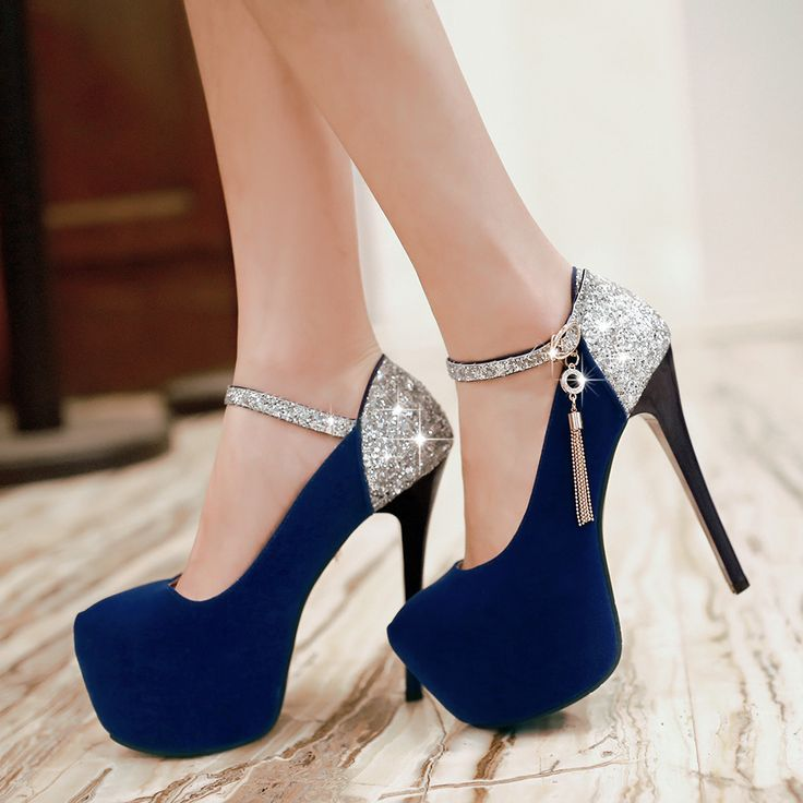 Pretty Ultrahigh Sequins Highheeled Shoes With Thin With Waterproofblue  on Luulla