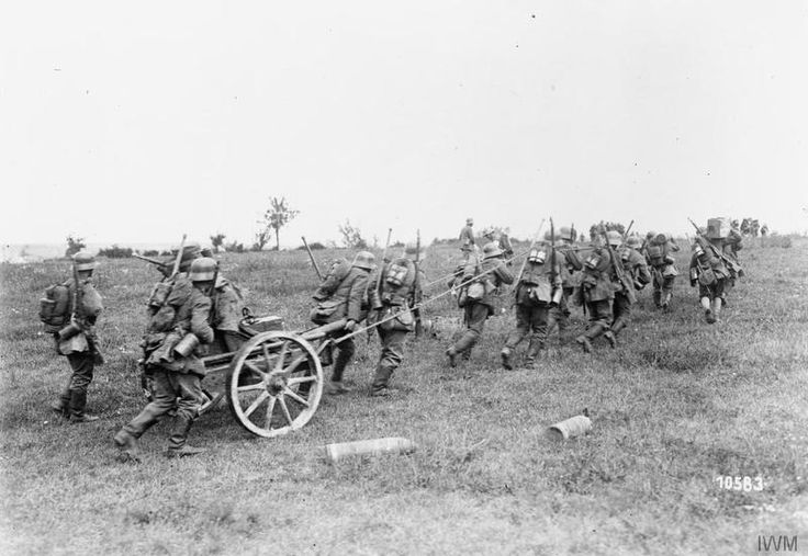 THE GERMAN SPRING OFFENSIVE, MARCH-JULY 1918  The German Marne-Reims Offensive. German infantry manhauling a granatenwerfer forward in support of advancing stormtroops, 15 July 1918.