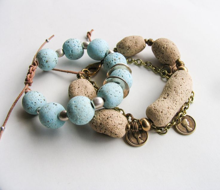 Aquamarine blue, Stone beige, Boho beaded bracelet, Charm Bracelet, Clay Bead bracelet, Chain bracelet, Spring Summer gift, Tribal jewelry by totalhandmadeD on Etsy