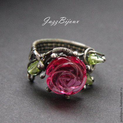 Серебряное кольцо с розой - кольцо,серебряное кольцо,подарок подруге