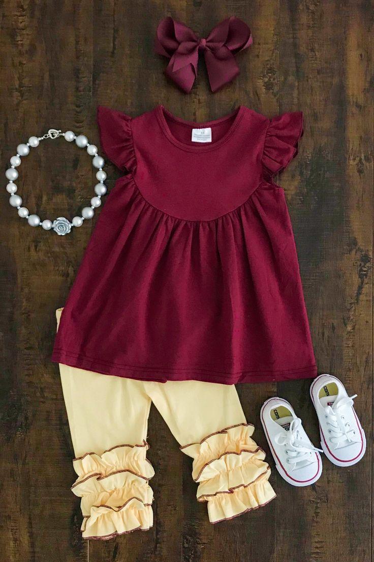 Burgundy & Yellow Capri Set #kidoutfits