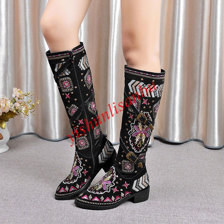 Women Ethnic Style Fashion-Knee High Boots Embroidery Buckle Zipper Grace Shoes