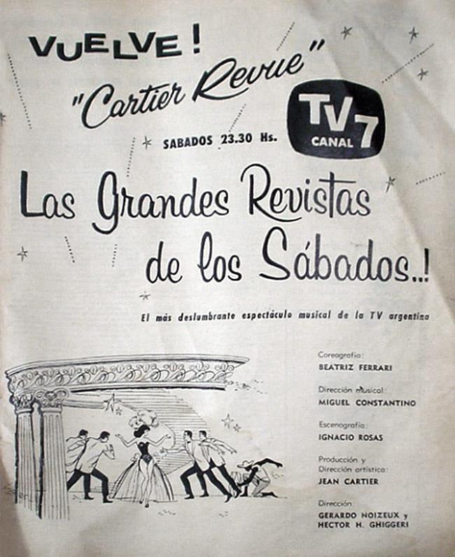 Publicidad de programación de CANAL 7, Buenos Aires, 1960.