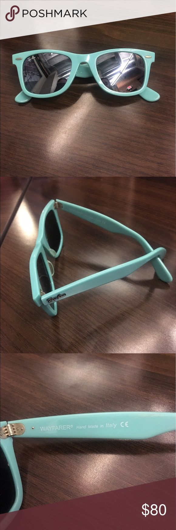 RAY-BAN Tinted Wayfarer Sunglasses - Turquoise Turquoise acetate Ray-Ban Wayfarer sunglasses with tinted lenses and logo accents at temples. Does not include case. Listed on alternate sites for $90+. Ray-Ban Accessories Sunglasses