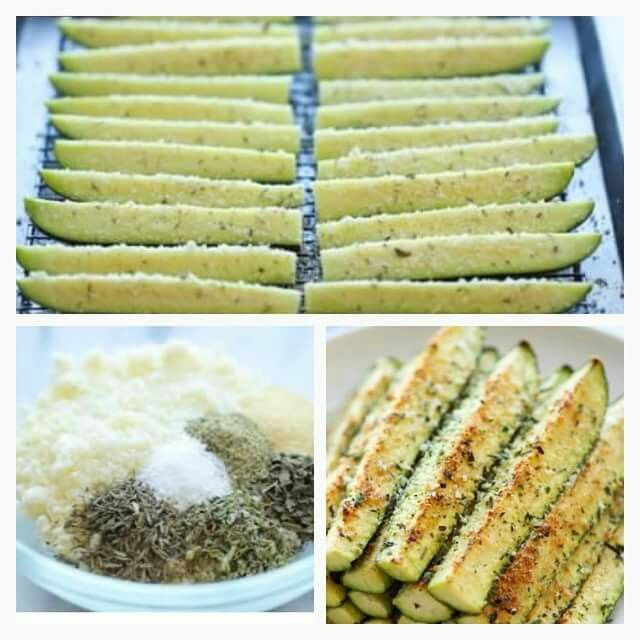 Homemade baked zucchini fries. Cut zucchini length wise. In a separate bowl combine parmesan, thyme, oregano, basil, garlic powder, salt and pepper. Place zucchini strips on baking sheet and drizzle with olive oil then sprinkle on mixture. Bake for 15 mins at 350 for 15 mins, then broil until golden brown. Makes a great guilt free snack!!!