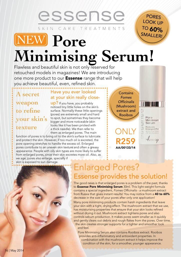 Pores are visibly minimised by 40-60% after just one application of the Pore Mininising Serum