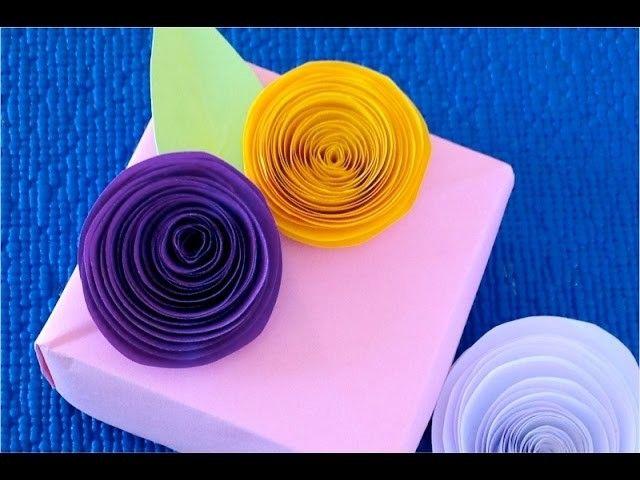 DIY. Самый быстрый и простой способ как сделать розы из бумаги. Идеи для украшения подарка.