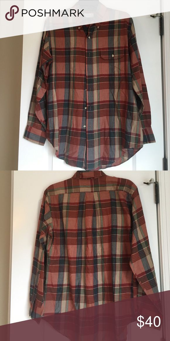 Earth tone plaid shirt Plaid shirt, men's size M but I bought it for myself. It is so cute with skinny jeans! Brand is Murray's Toggery Shop Nantucket Island. It's a $100 shirt new. Murray's Toggery Shop  Shirts Casual Button Down Shirts