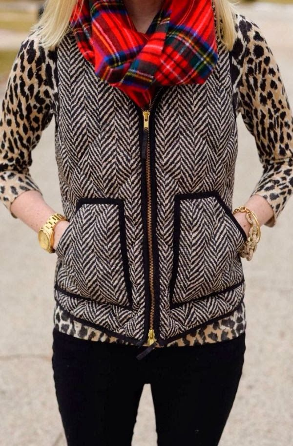 Jcrew herringbone vest|cheetah sleeve|red plaid scarf - Love everything about this look for fall/winter