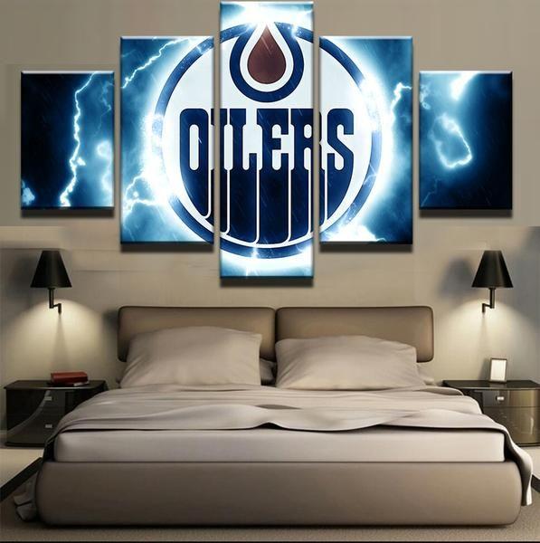 5 Panel Edmonton Oilers NHL Team (Thunderbolt) Ice Hockey Sports Canvas Prints by www.PanelWallArt.com