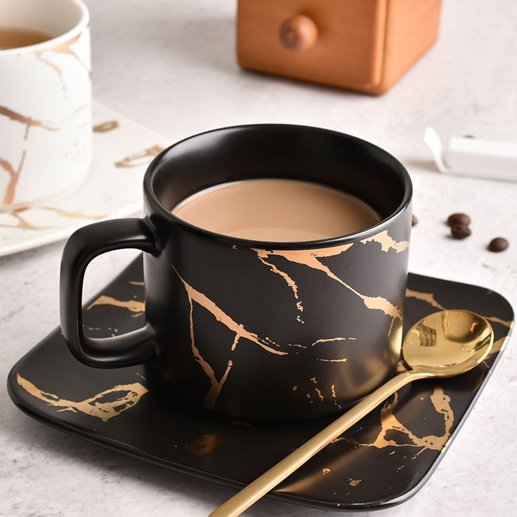 Italian espresso ceramic cup and saucer set marble veins