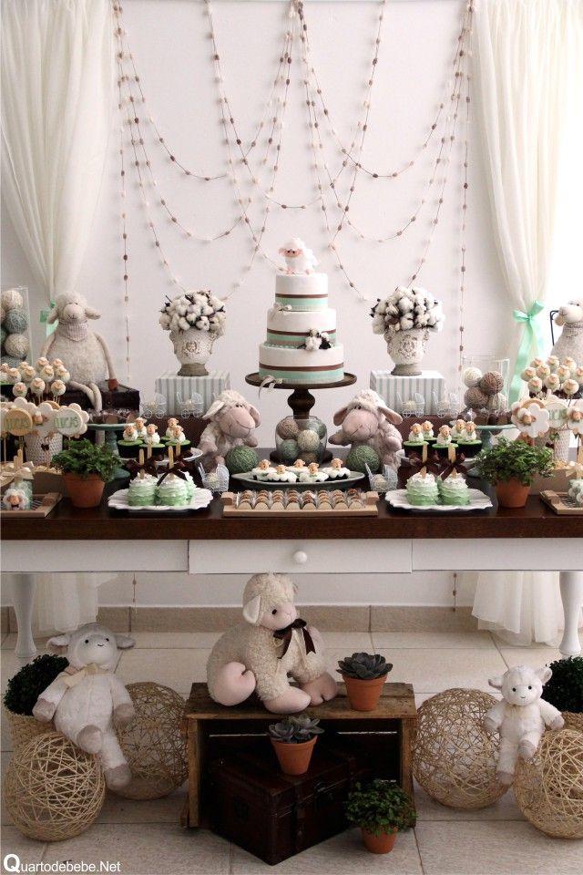 Chá bebê ovelhinhas verde algodão
