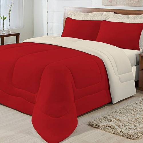 City Double Flat Red Knit Duvet with Sand – Bright Bed Linen  – Edredom casal