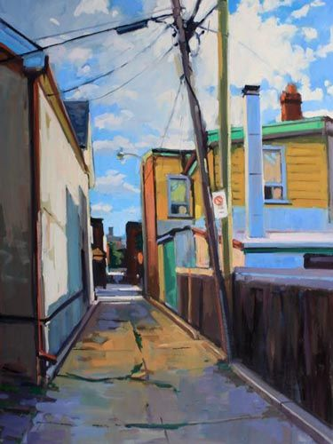 "Brian Harvey, Brockton Laneway, oil on panel, 36""x48""."