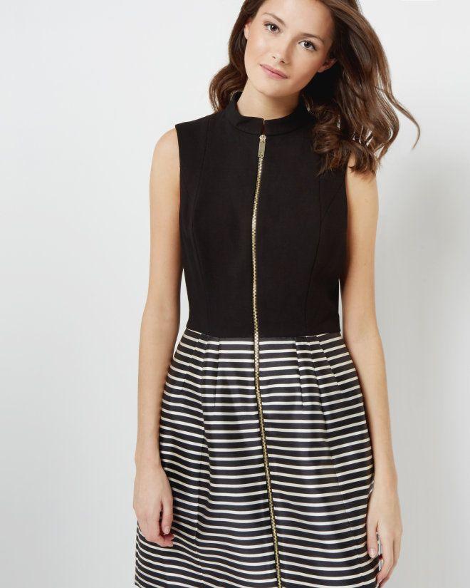 Striped full skirt dress - Black | Dresses | Ted Baker UK