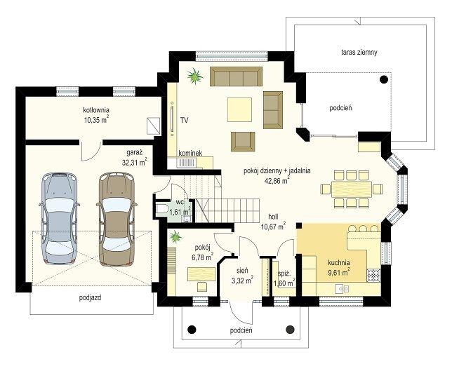 Projekt domu Willa Julia - rzut parteru