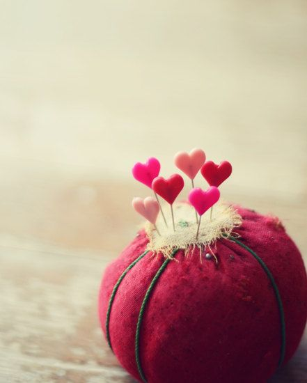 Sewing hearts photograph-love, whimsical, red, pink, pins, pin cushion,  fine art photo,  8x10 print, still life, valentines day