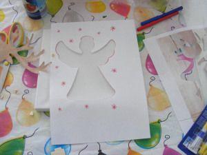 Kerst engel sjabloon #glitters diy zelfmaken kinderen knutselen canvas christmas kids decoration watdoetvanessanu
