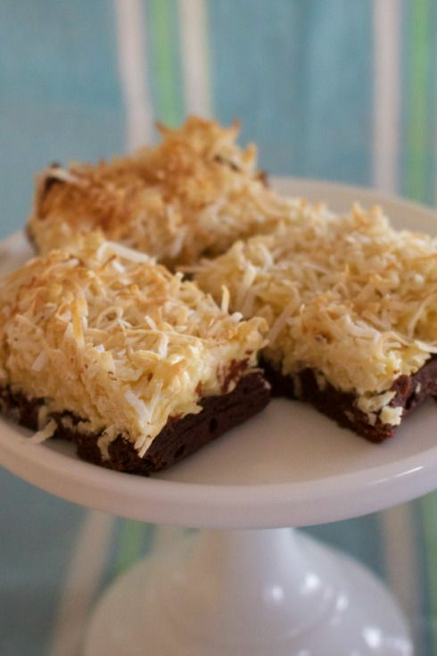 Coconut-topped brownies