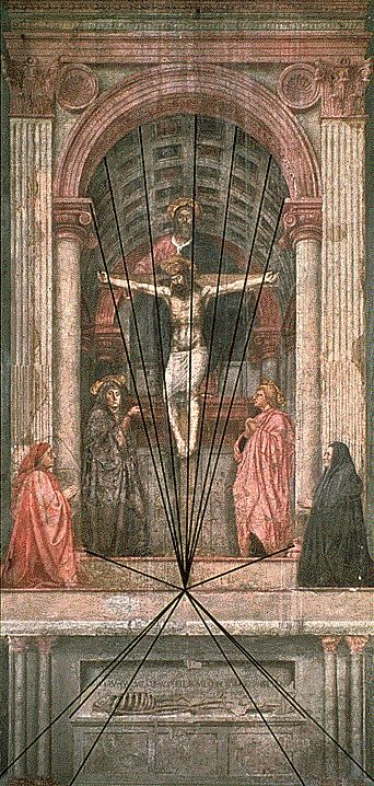 Renaissance Schilderij, Heilige drie-eenheid, perspectiefuitleg, Santa Maria Novella, Masaccio, 1425-1428 Florence