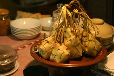 Ketupat as main dish of the day