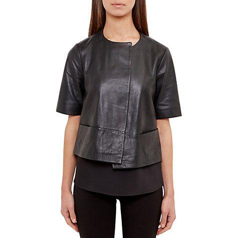 Buy Ted Baker Short Sleeve Leather Jacket, Black Online at johnlewis.com