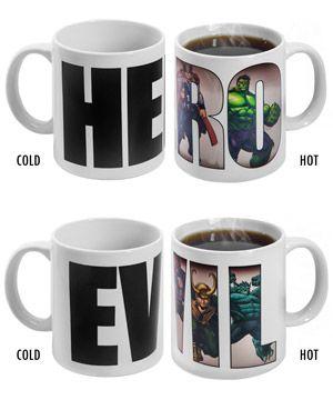 """Heat Changing Marvel Mugs """"Hero"""" and """"Villain"""""""