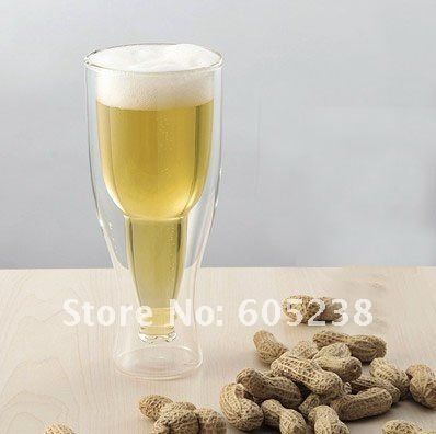 Free Shipping 10Pieces Large Size 420ml Hopside Down Glass Beer Glass Beer Mug