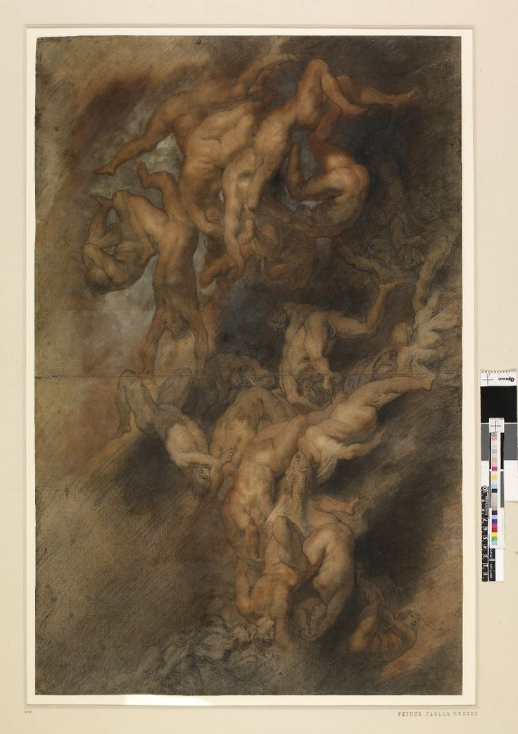 Drawing connected with 'Fall of the Damned' (Munich); male and female figures, falling and grasping at each other as they fall Black and red chalk with watercolour and bodycolour