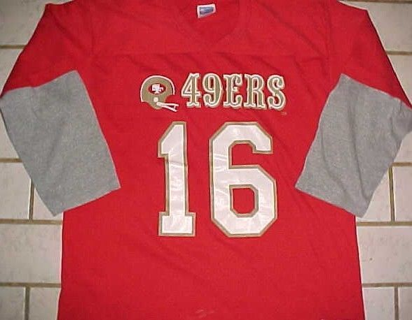 Joe Montana 16 San Francisco 49ers NFL NFC West Rawlings Jersey Sleeve T-shirt L #Rawlings #SanFrancisco49ers
