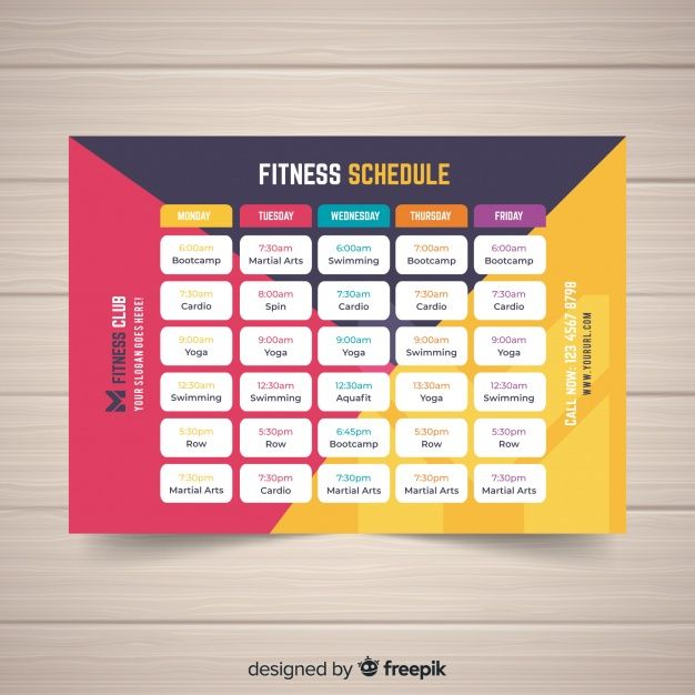 Download Modern Gym Schedule Template With Flat Design For Free