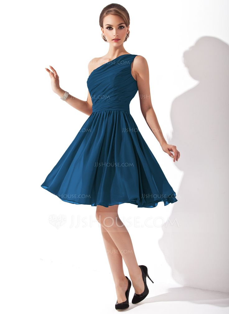 A-Line/Princess One-Shoulder Knee-Length Chiffon Bridesmaid Dress With Ruffle Bow(s) (007000918) - JJsHouse