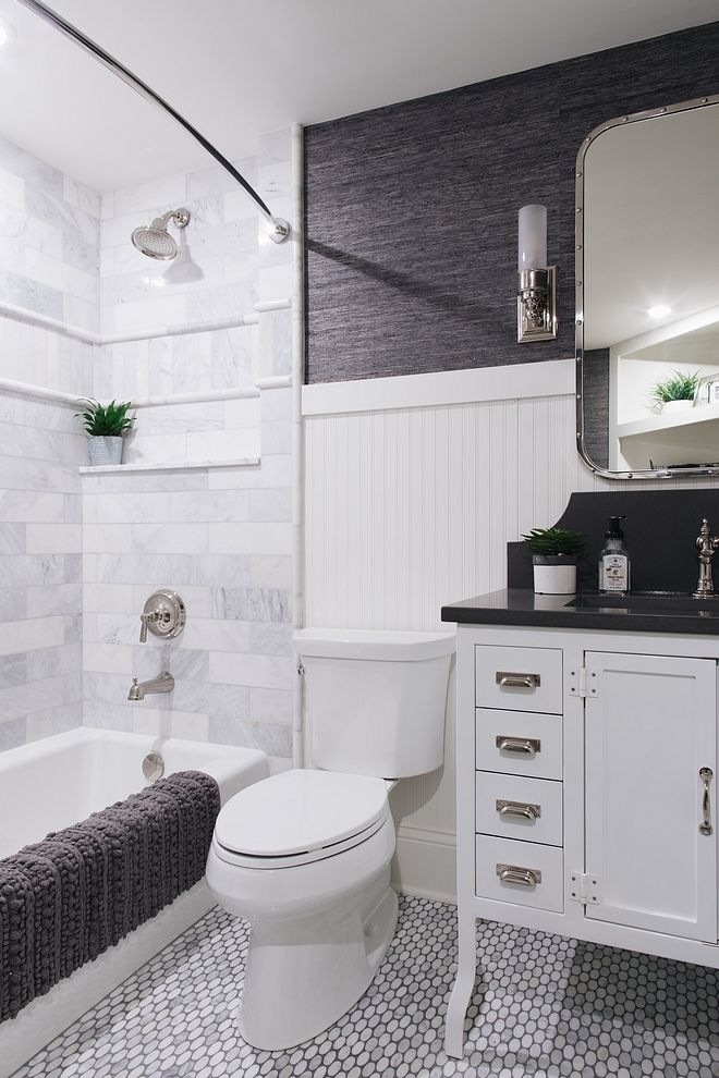 Small Bathroom With Beadboard Wainscoting Marble Mosaic Floor Tile