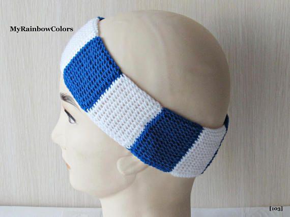 Blue White Headband Double Sided Ear Warmer Patchwork