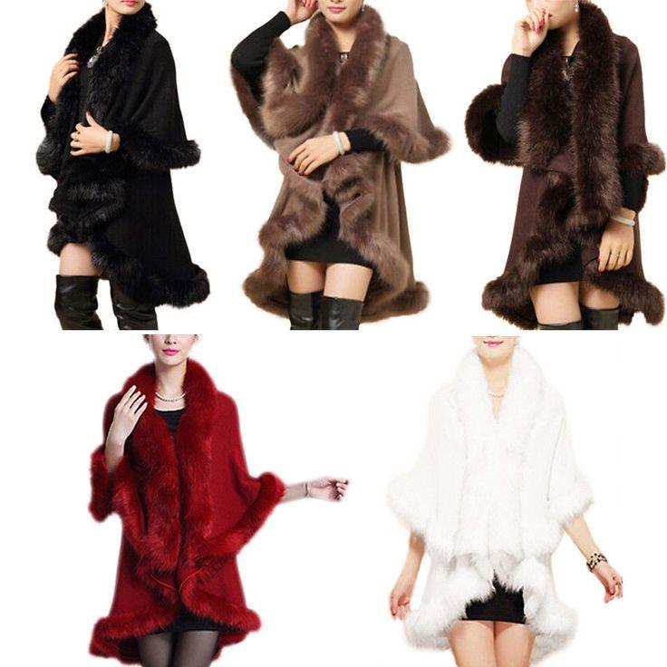 Fashion Women Faux Fur Shawl Cloak Cardigan Sweater Cape Poncho Coat Outwear    eBay