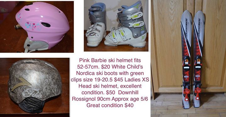 Pink Barbie ski helmet fits 52-57cm. $20 White Child's Nordica ski boots with green clips size 19-20.5 $45 Ladies XS Head ski helmet fit my daughter at age 10, excellent condition. $50   Downhill Rossignol 90cm Approx age 5/6 Great condition $40