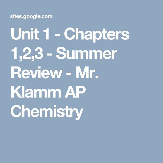 Unit 1 - Chapters 1,2,3 - Summer Review - Mr. Klamm AP Chemistry