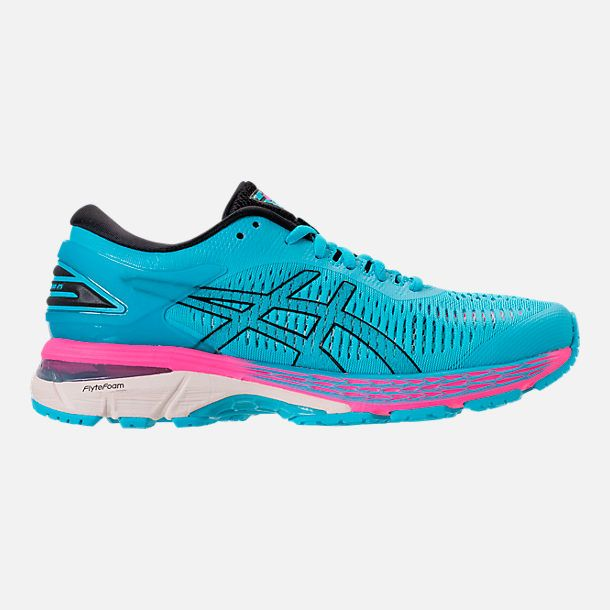 Right View Of Women S Asics Gel Kayano 25 Running Shoes In Aquarium Black With Images Running Shoes Shoes Asics Women