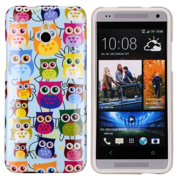 Kleurrijke uiltjes TPU hoesje voor de HTC One mini