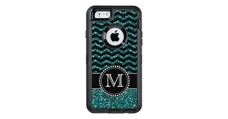 Blue Glitter Chevron Monogrammed Defender OtterBox Defender iPhone Case: Blue Glitter Chevron Monogrammed Defender OtterBox Defender iPhone…