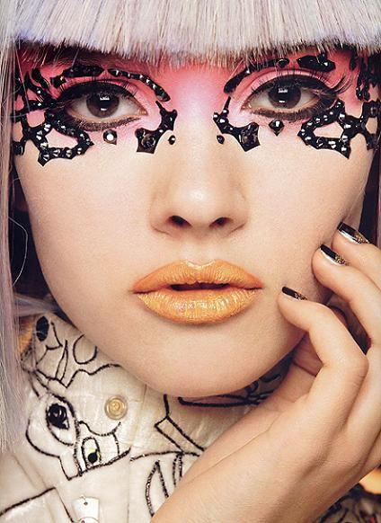 make up by kabuki the eyes remind me of the lady gaga