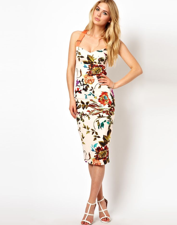 Ted Baker - Midi dress with floral pattern and contrasting straps