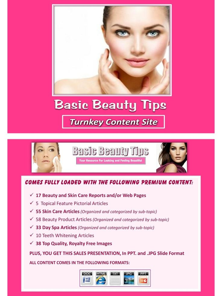 Done for you, value packed and affordable beauty tips turnkey content site, packed with topical, silo organized private label article collections and themed beauty and skin care images and icons. You also get All of it comes with our exclusive, profit-ready, viral PowerPoint presentations.  #beauty #beautytips #skincare #anti-aging #antiaging #lookyounger #reducewrinkles
