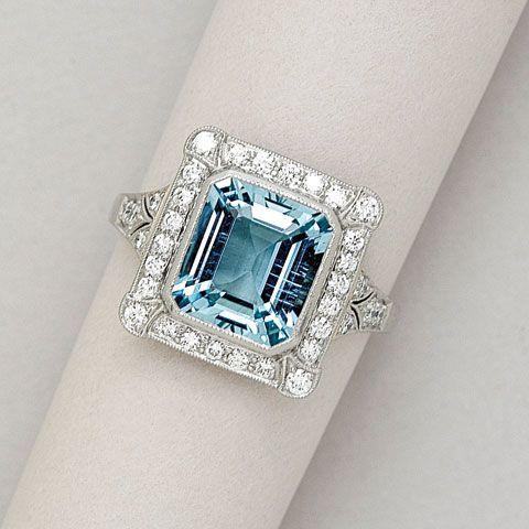 My Birthstone! Aquamarine, Diamond and Platinum Ring - 20 Gorgeous Aquamarines -