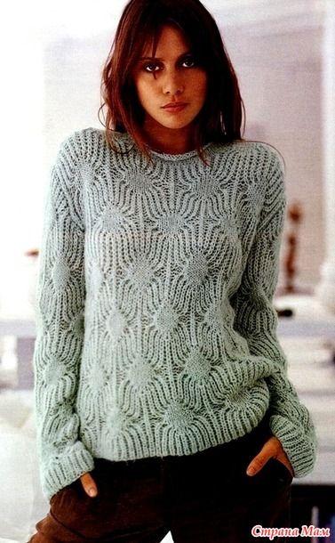 Размеры: 38/42  Вам потребуется для вязания ажурного пуловера: 500 г пепельно-розовой пряжи Soft Hair (40% полиакрила, 30% мохера, 30% полиамида, 110 м/50 г);