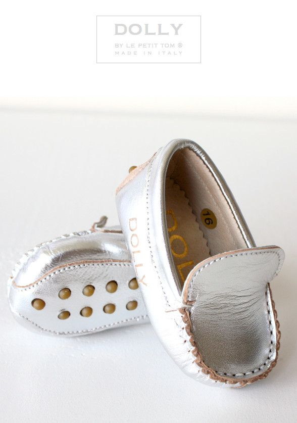 DOLLY by Le Petit Tom ® BABY MOCCASIN 8MO silver