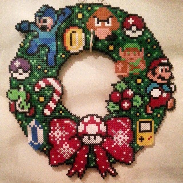 Nintendo Christmas wreath perler beads by edenfre