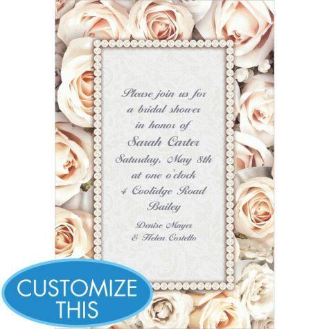 lovely in white custom invitation custom wedding invitations weddings categories party city - Party City Bridal Shower Invitations