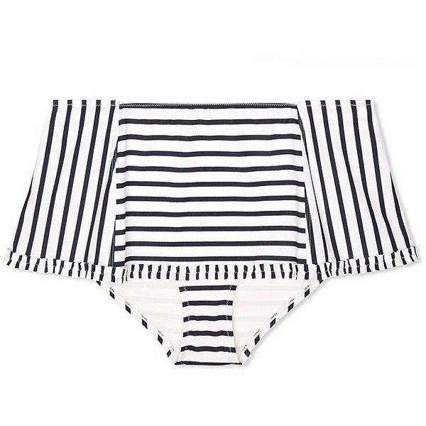 Tory Burch Sail Stripe Skirted Bottom ($135) ❤ liked on Polyvore featuring swimwear, bikinis, new ivory lanai stripe, flounce bikini, frilly bikini, frill bikini, retro pinup swimwear and pin up swimwear